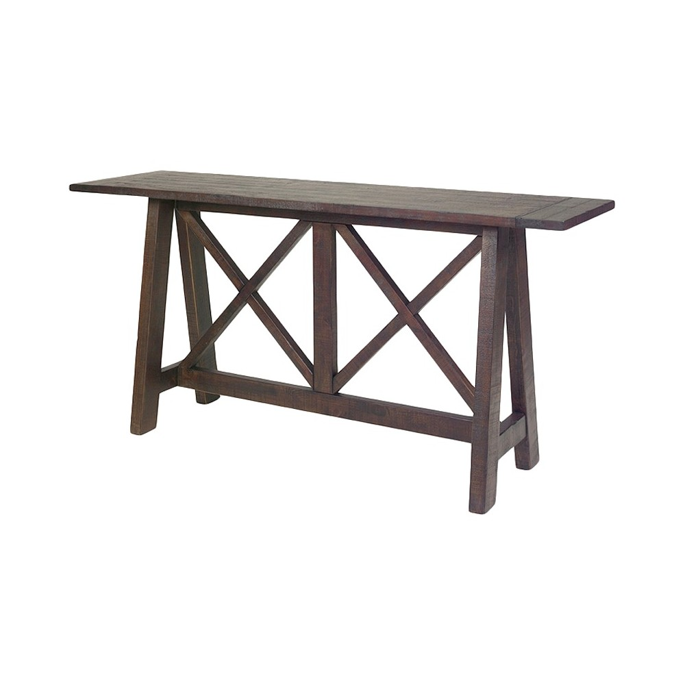 Vineyard Console Table - Distressed Root Beer - Progressive Furniture, Brown
