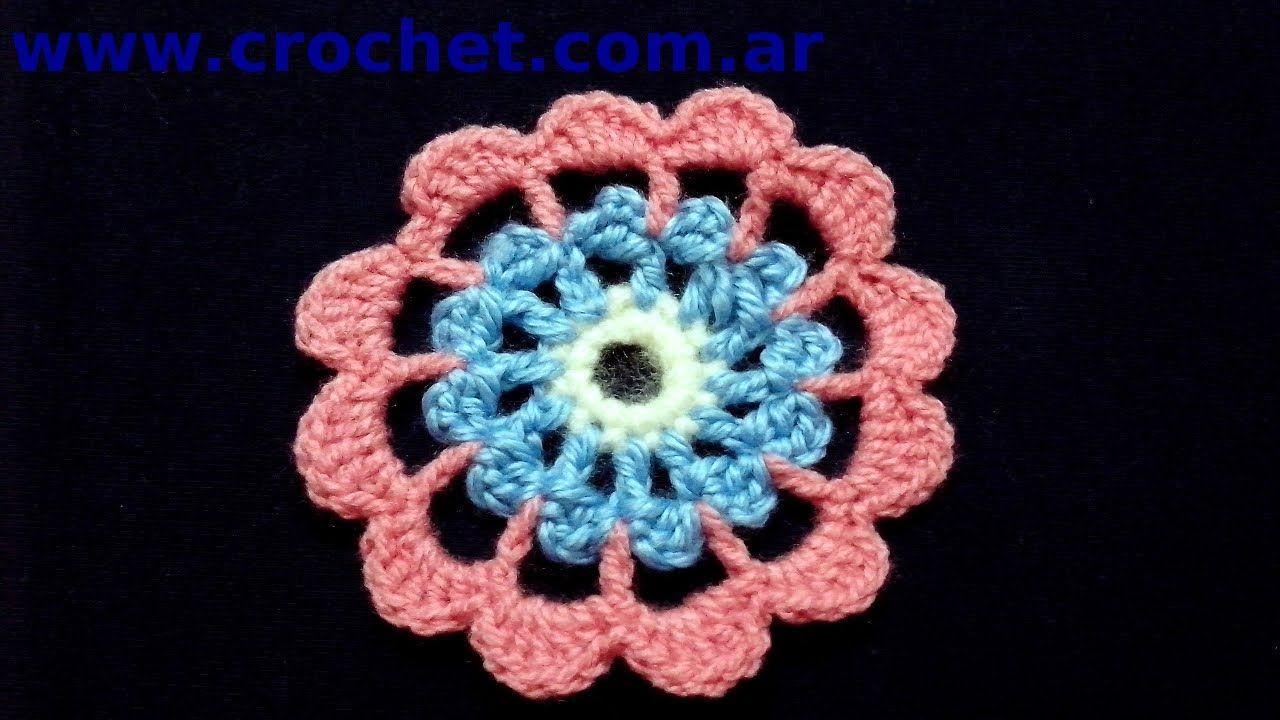 Flor N° 12 en tejido crochet tutorial paso a paso. | Tejidos ...