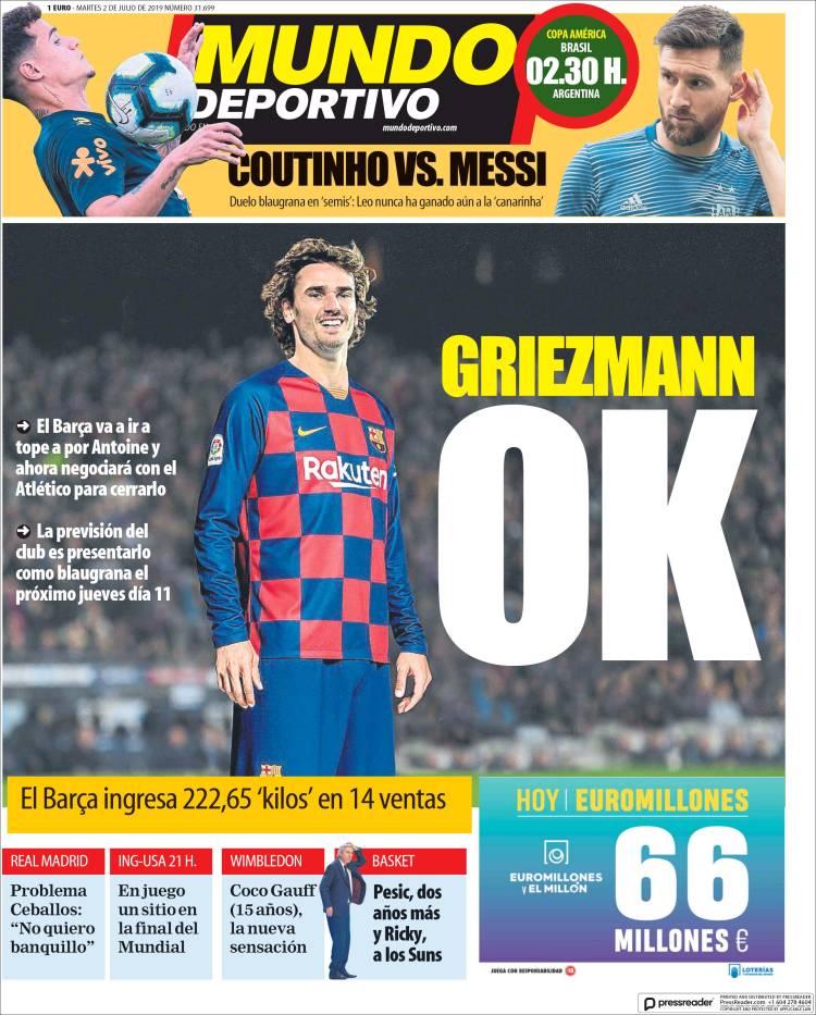 20190702 Periódico El Mundo Deportivo (España