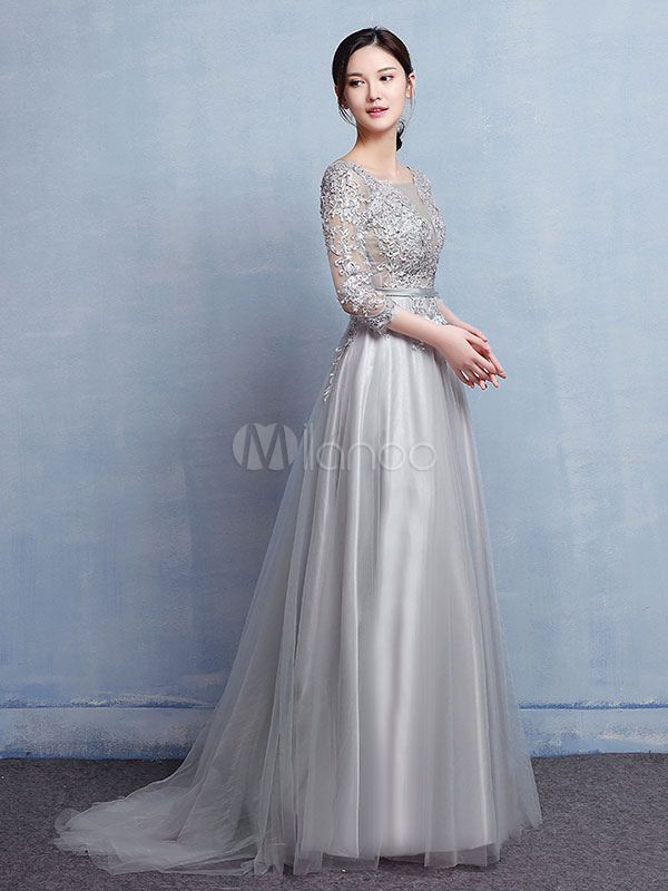 0fdd69691e2 Tulle Mother Dress Silver Evening Dress Lace Applique Beading Illusion  Wedding Guest Dresses With Train - Milanoo.com