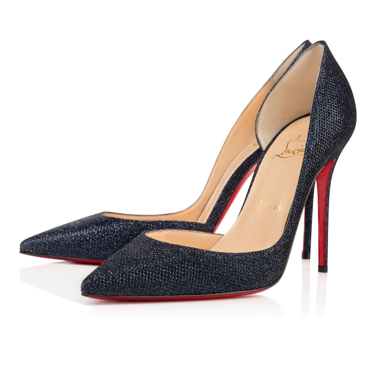 christian louboutin navy blue shoes
