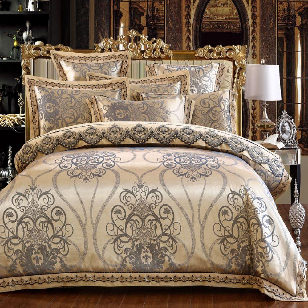 Luxury Lace Pattern Silk Bedding Set Royal Bed Luxury Bedding
