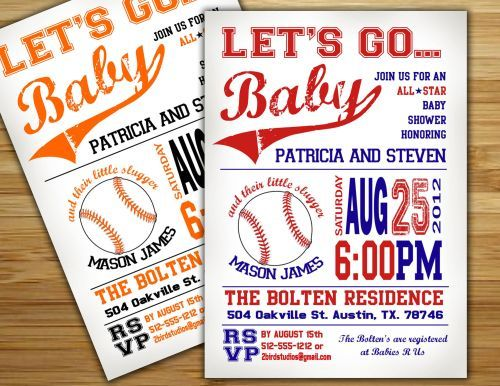 baseball baby shower invitations | baby shower invitations, Baby shower invitations
