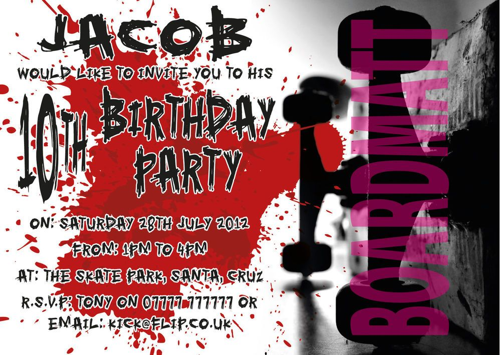 SKATEBOARD SKATER BOY/GIRL Personalised Party Invitations x10 COOL ...