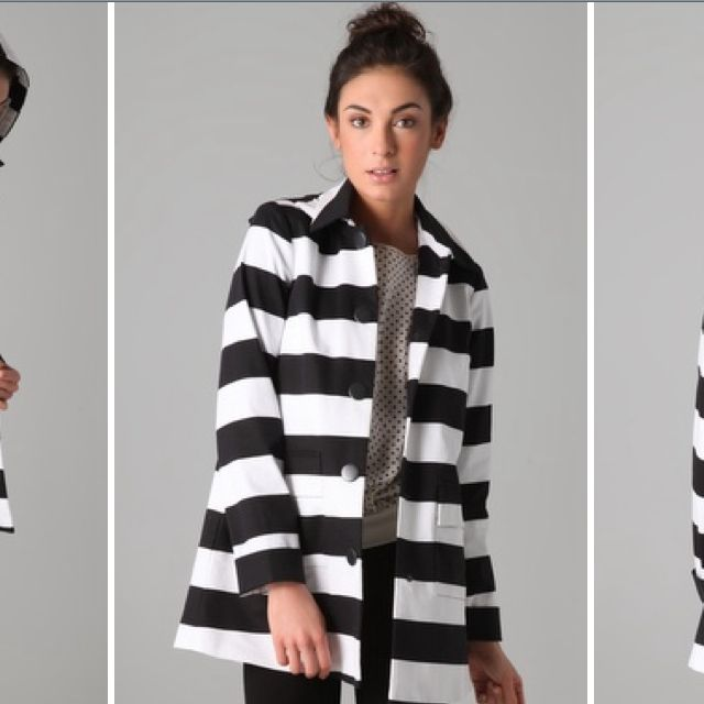 Love this easy striped Alice and Olivia coat!