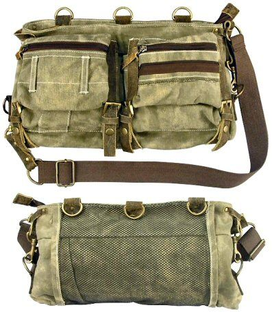 Stone Washed OD Green Mesh Bag With Leather Accents