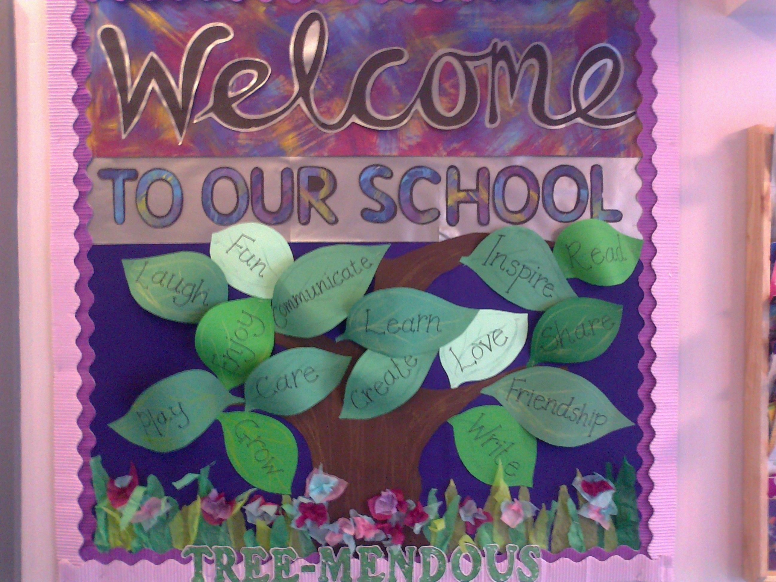 Kindergarten Classroom Decoration ~ Welcome display for school entrance improvement