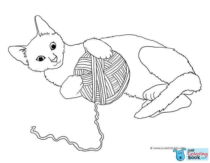 Cat Playing With Yarn Cat Coloring Book Cat Coloring Page