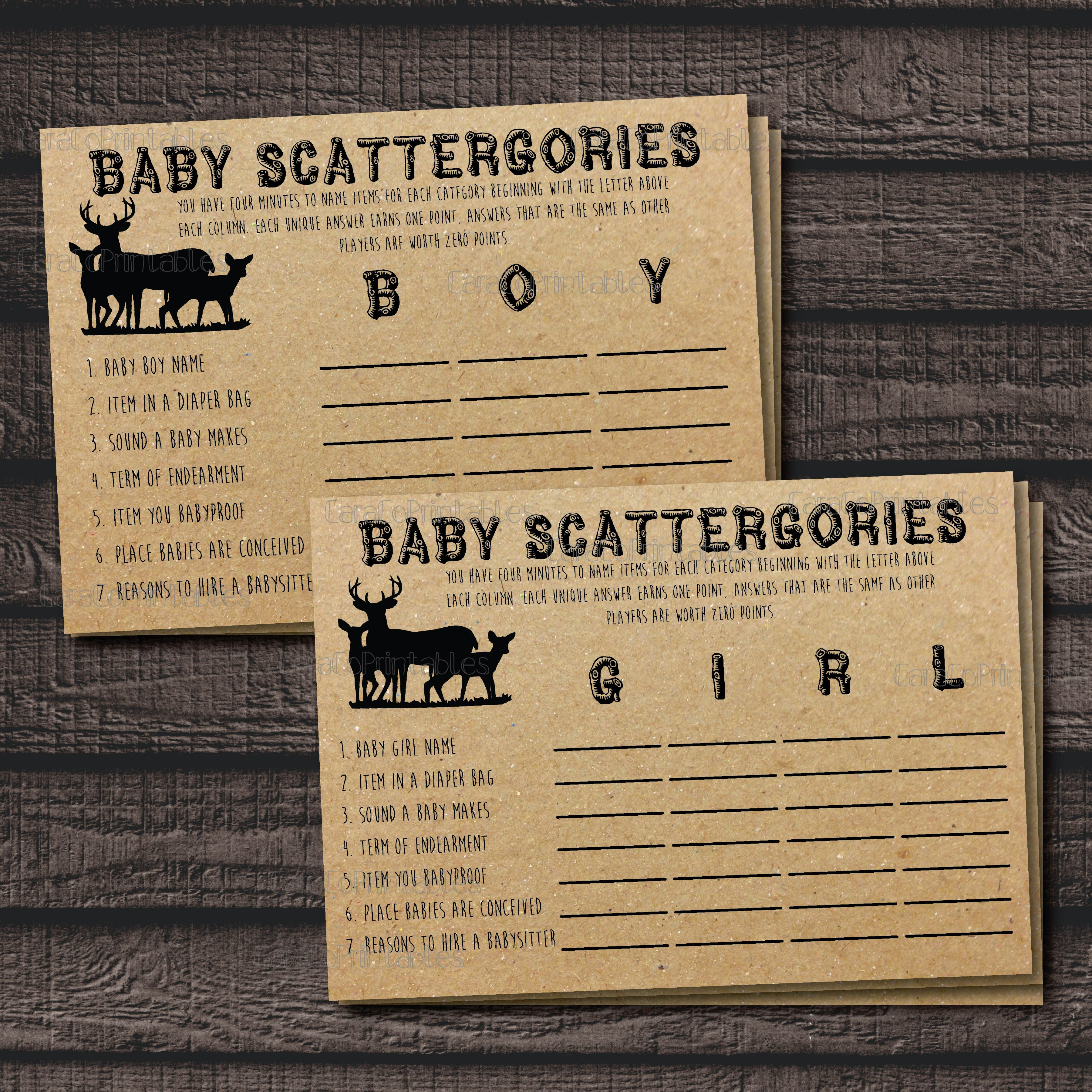 free printable camo baby shower invitations templates%0A Woodland Baby Shower Scattergories Printable Game from Cara Co Printables  on Etsy