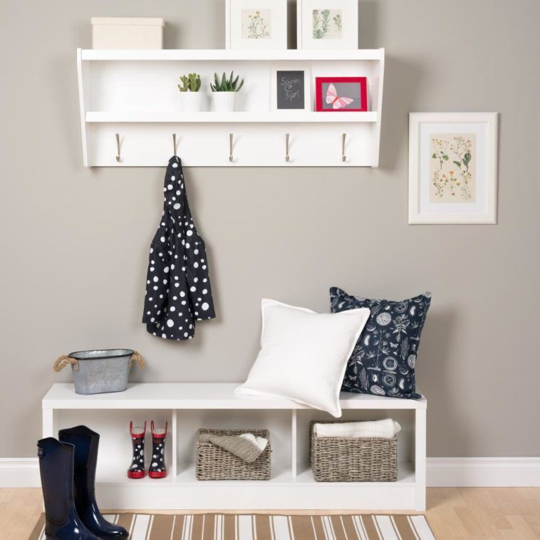 Entry Way With White Wooden Storage Bench Plus Coat Hanger Using Adorable 24 Inch Coat Rack