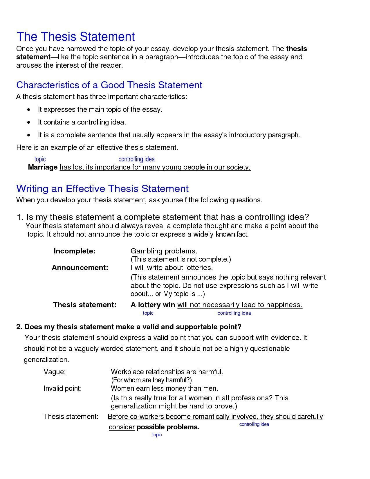 Thesis Statement Examples Thesis Statement Examples Thesis Statement College Essay