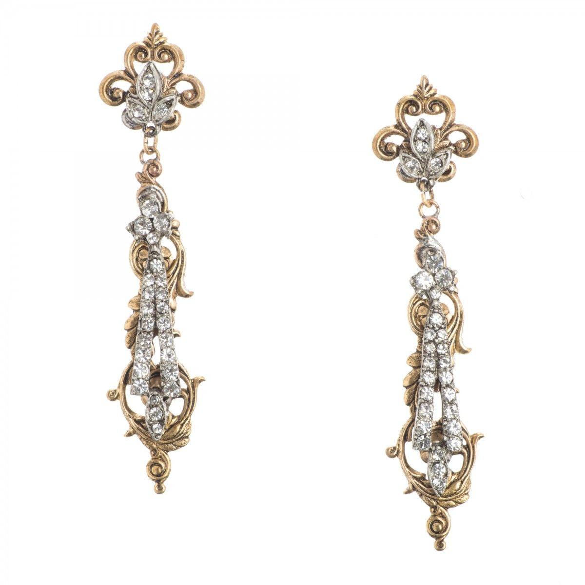 Miss Ellie Nyc Earrings Silver Gold Ragtime Crystal Chandeliers Jewelry