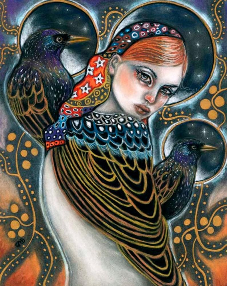Starling birds woman Klimt inspired portrait 8x10 print of | Etsy | Art,  Mermaid art, Spiral art