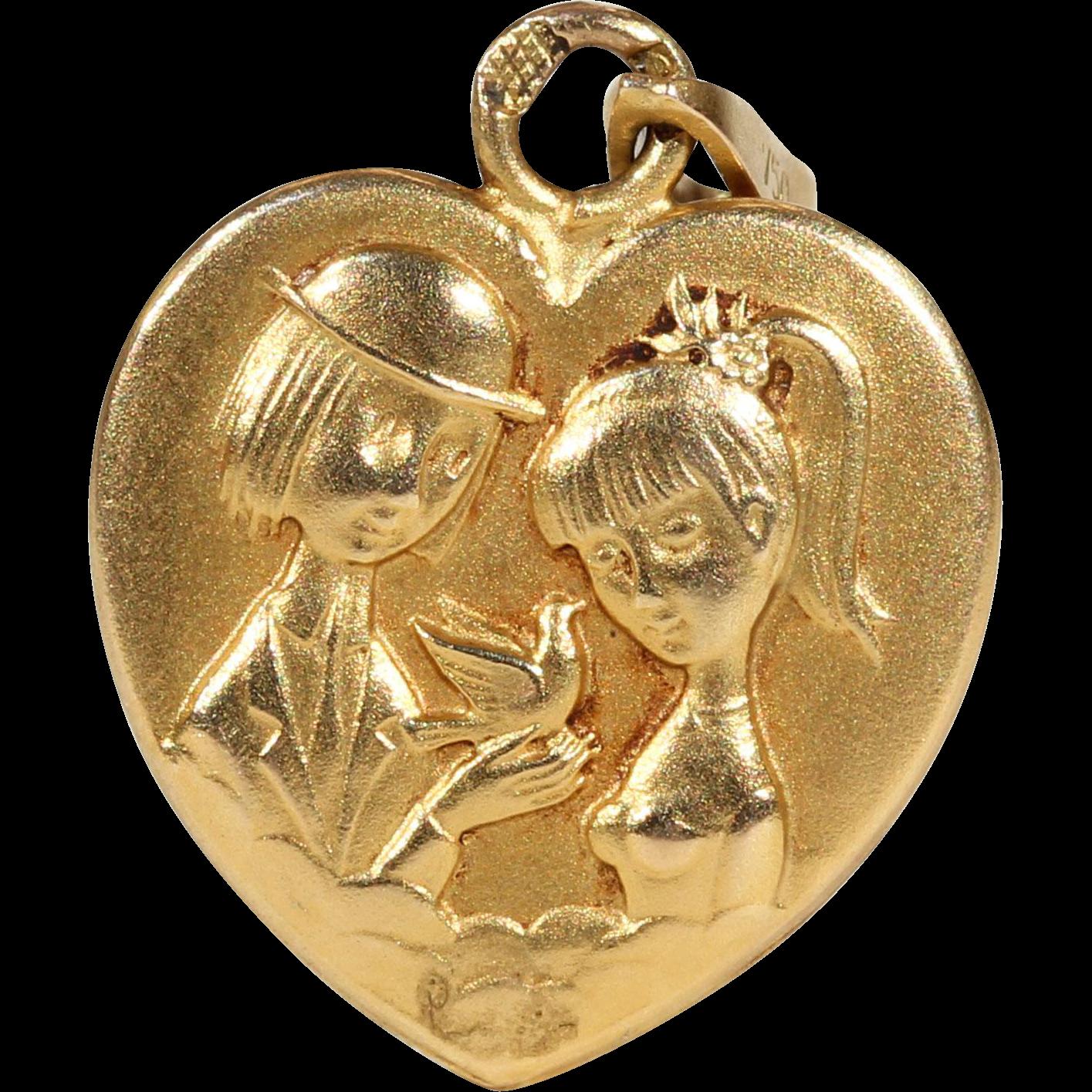 #VintageBeginsHere at www.rubylane.com @rubylanecom -- 1940s Peynet Gold Heart Pendant 'Les Amoureux de Peynet 18 karat
