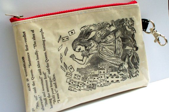 Book Purse Upcycled Alice in Wonderland with Deck of Cards
