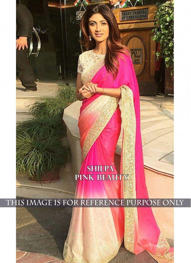Sari wedding dress  Shilpa Shetty Cream and Hot Pink Georgette Designer Partywear Saree