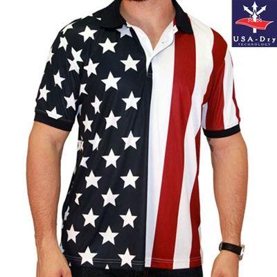 Men S Performance Golf American Flag Shirt American Flag Clothes American Shirts American Flag Shirt