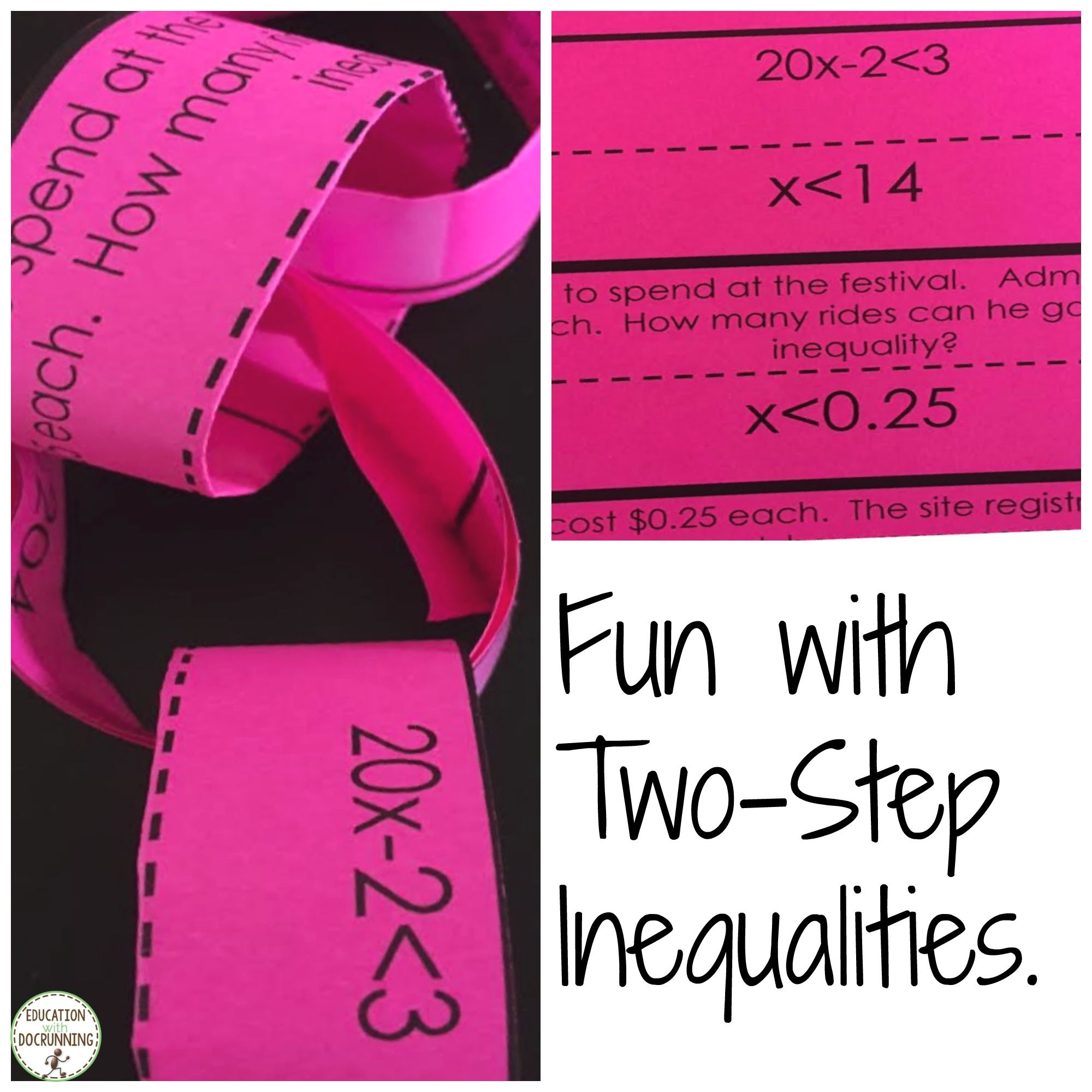 Solve Two Step Inequalities Activity Paper Chain