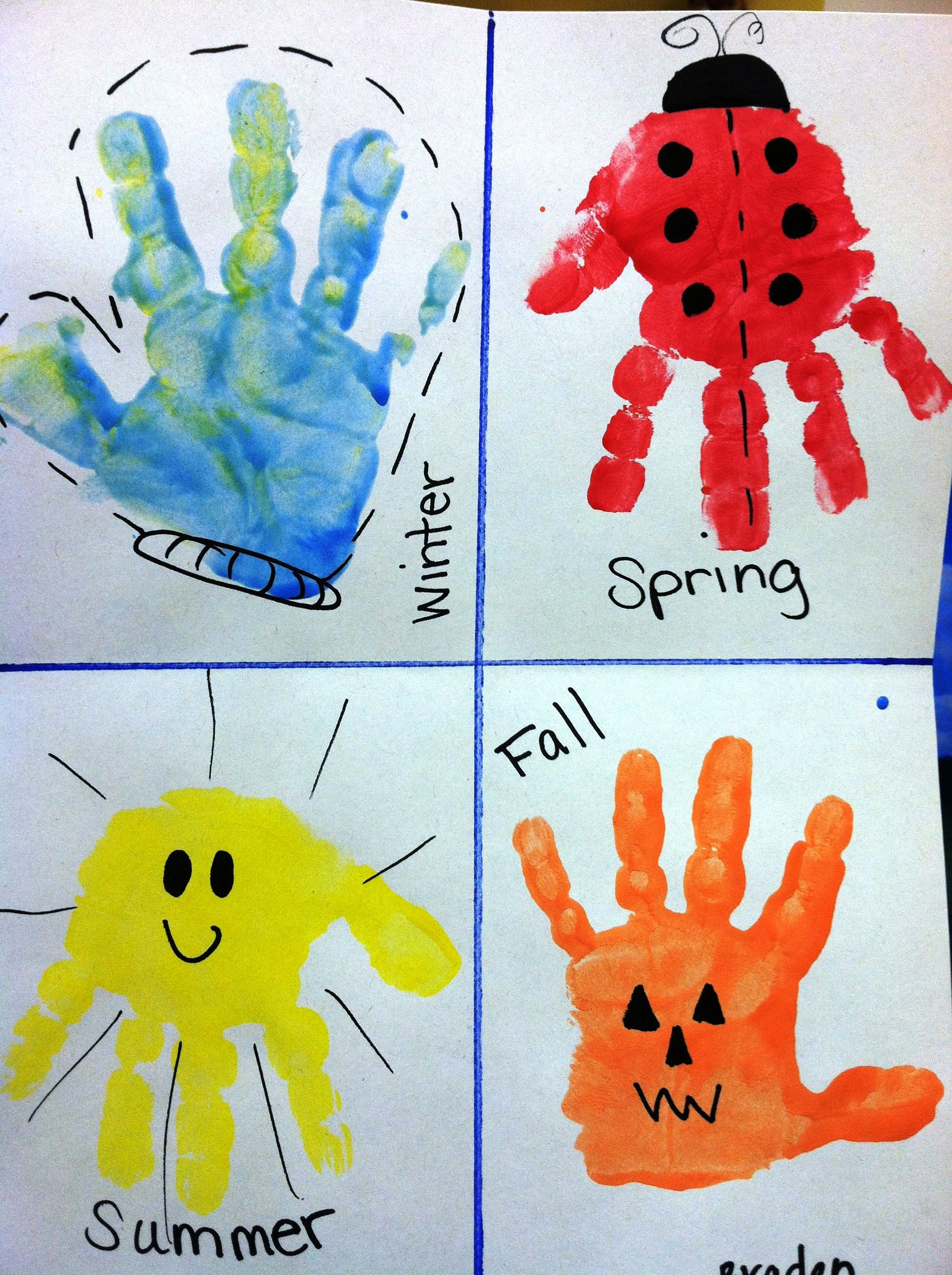 Kids Calendar Art Ideas : Super easy seasons hand print craft preschool fun