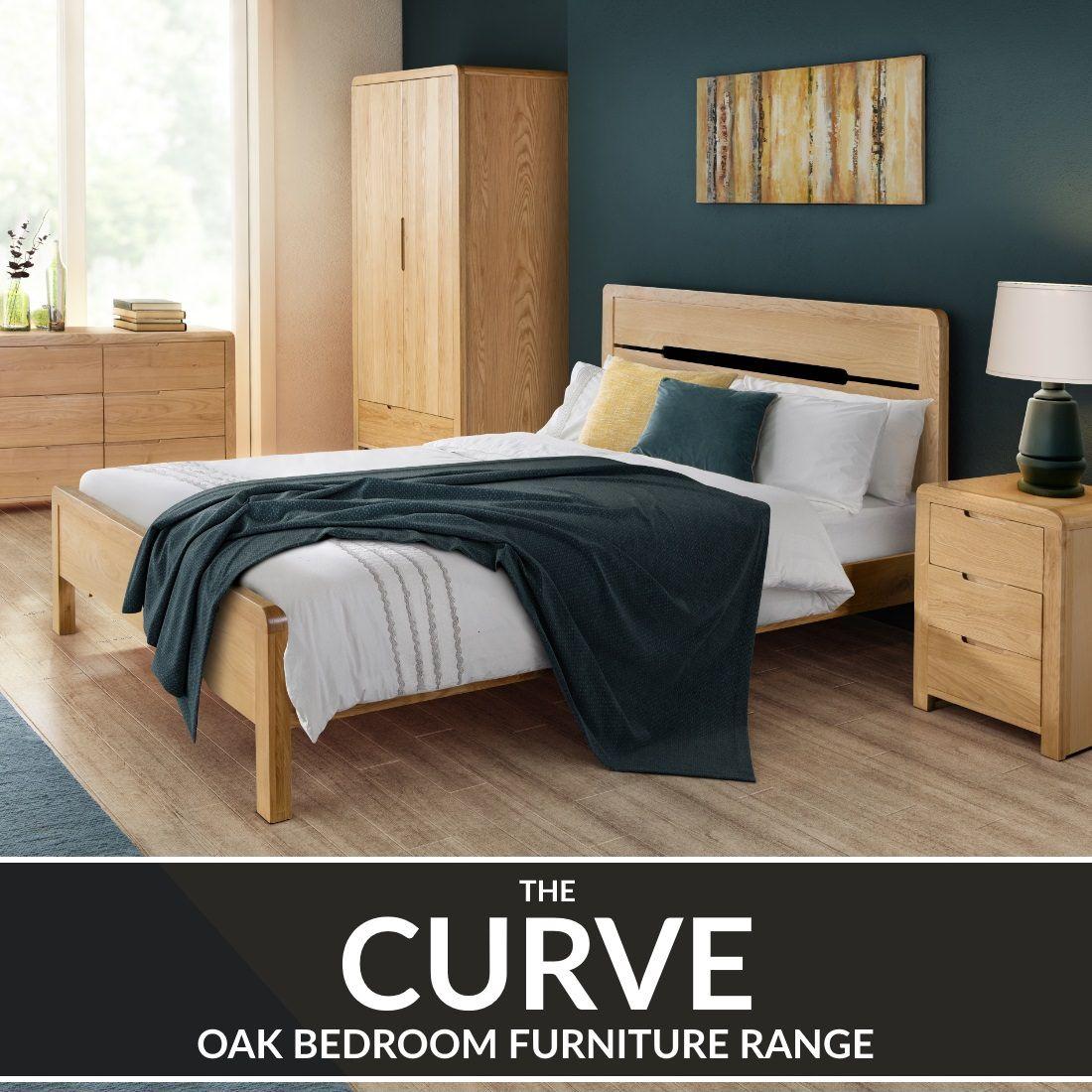 Bedroom Furniture - Curve Oak Bedroom Furniture Set