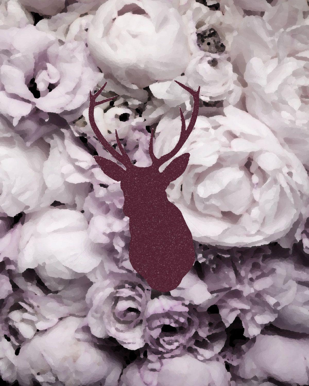Hipster art elk head on vintage flower background x wall decor