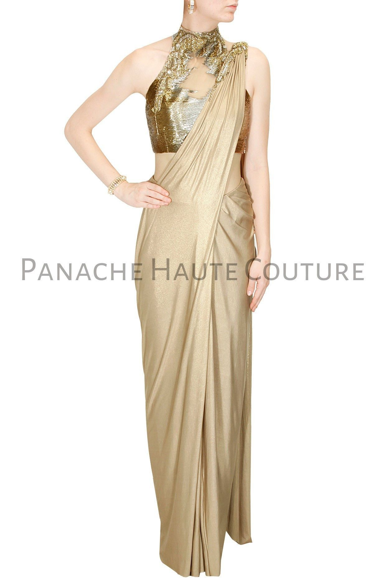 0d5036530c Featuring this golden color designer saree gown a gold shimmer jersey pre  stitched drape sari with