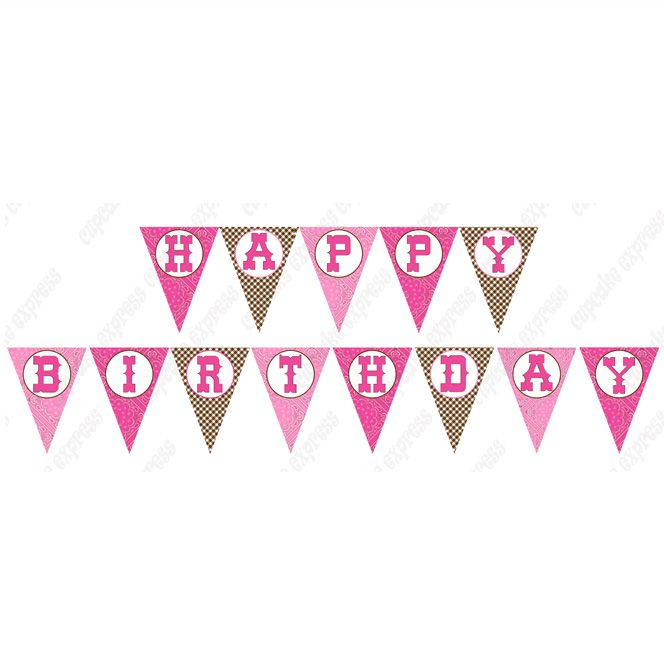Cowgirl Pink Brown Printable Happy Birthday Banner Happy Birthday Printable Printable Birthday Banner Birthday Banner Free Printable