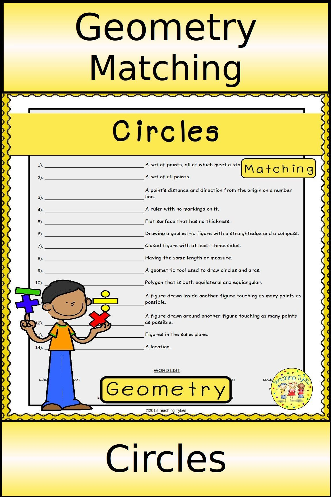 Circles Matching | Geometry Vocabulary Activities | Pinterest