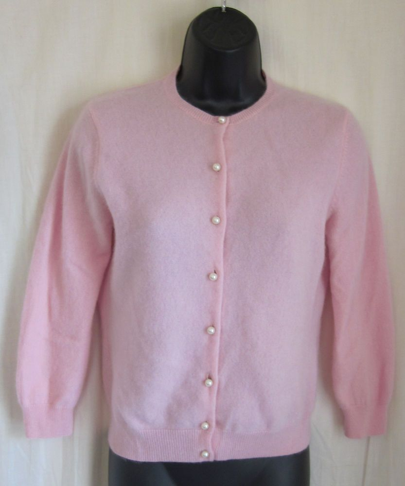 MODA International Pink Pearl Button 100% CASHMERE Cardigan ...