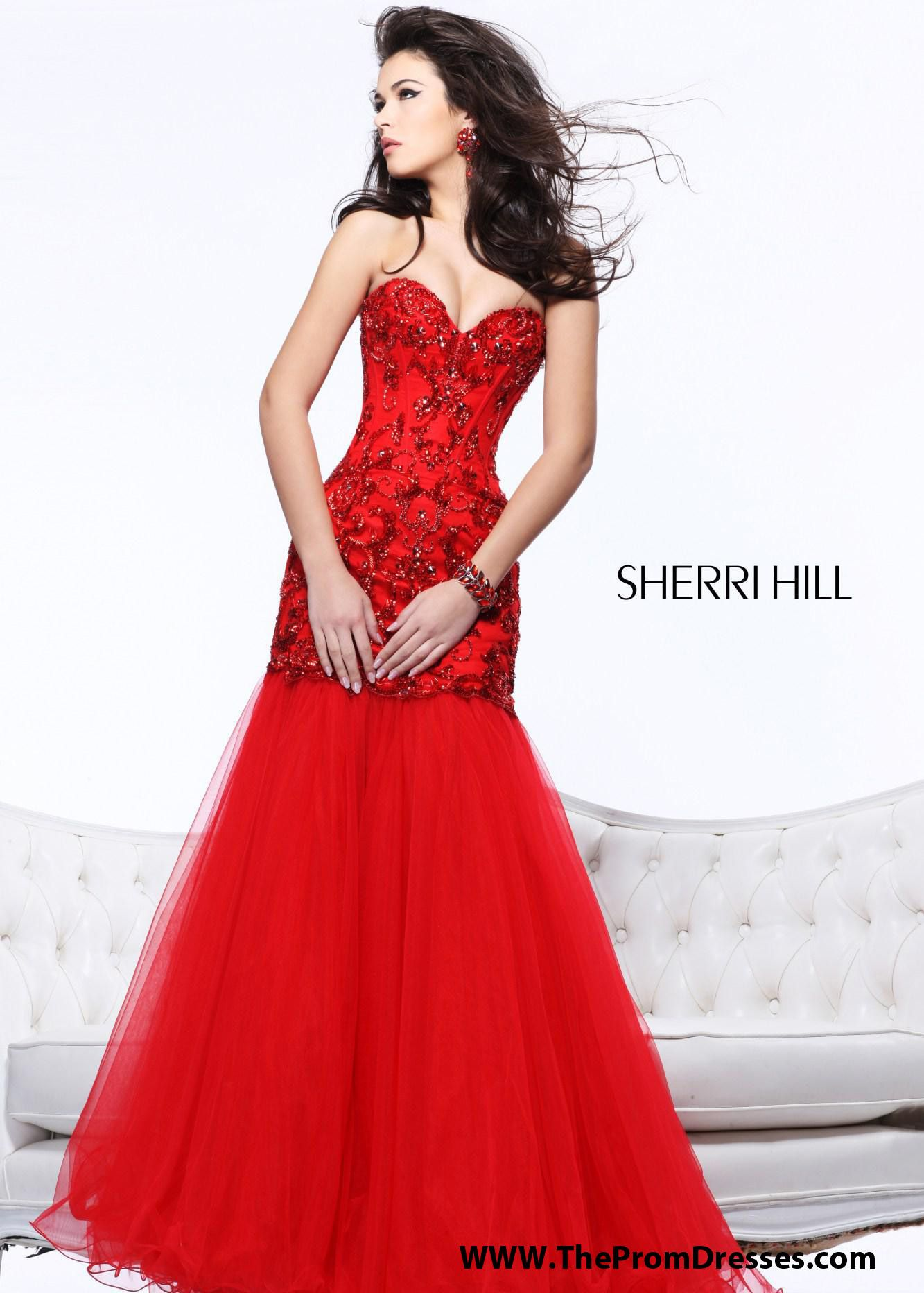 Sherri Hill Red Evening Gown with removable skirt Pageants