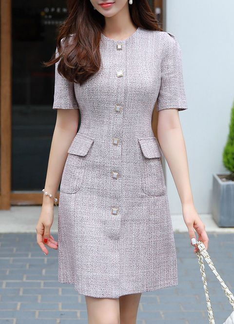 Square Button Tweed Dress