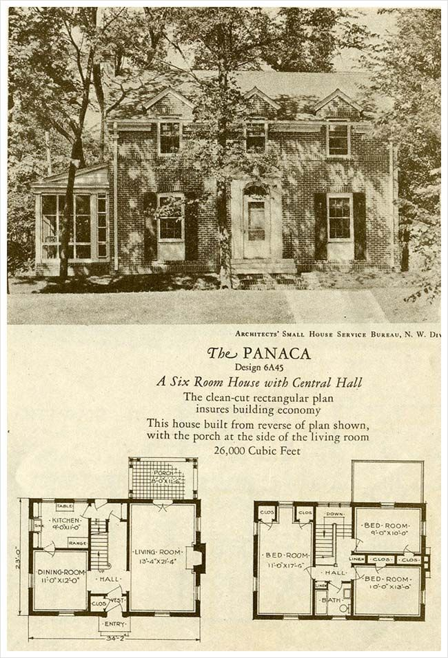 1927 Colonial Revival The Panaca Brick Homes Of Lasting Charm Vintage House Plans House Plans How To Plan