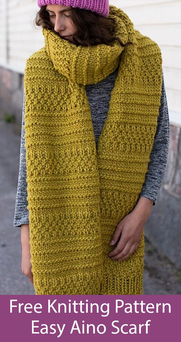Free Knitting Pattern for Easy Aino Super Scarf