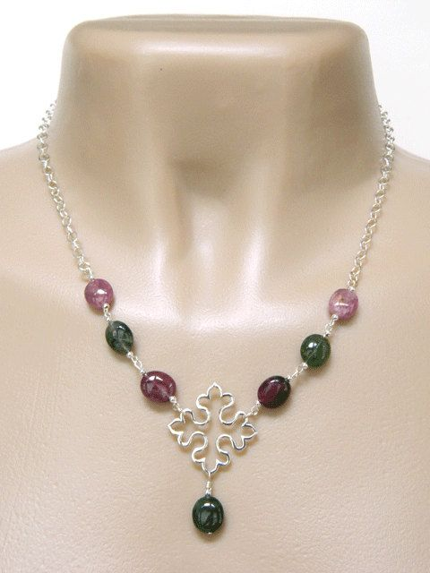 Tourmaline Necklace Handcrafted Silver by BlondePeachJewelry