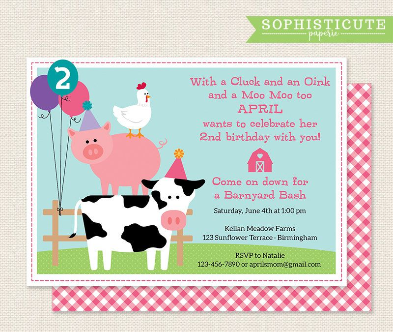 Girls Birthday Party Invitation Barnyard Birthday
