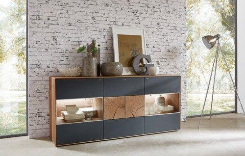 Hartmann Sideboard Kerneiche Umato gebürstet Mattglas anthrazit - bar wohnzimmer möbel
