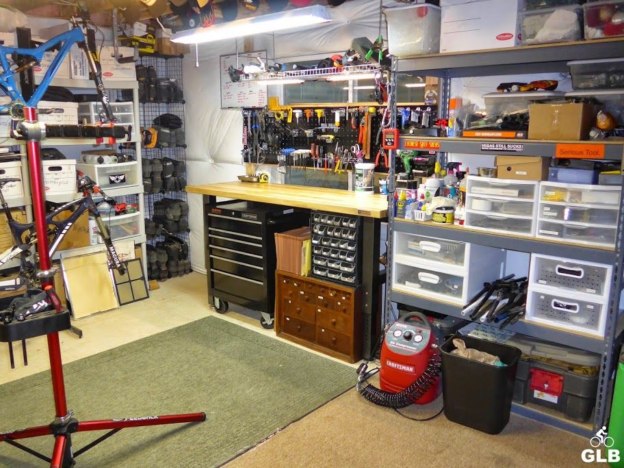 Grams light bikes mountain bike gear reviewing home for Home mechanic garage layout ideas