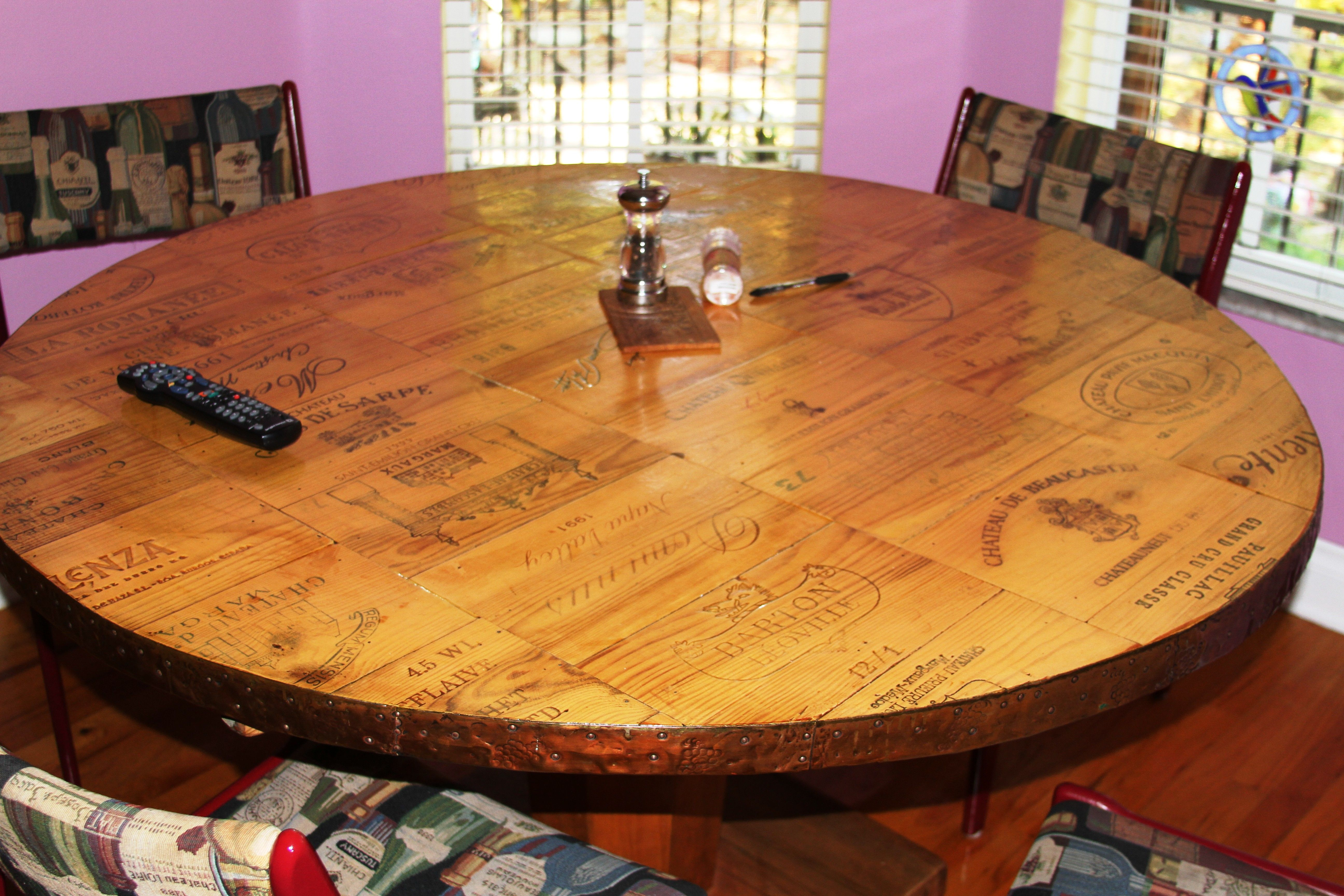 Handmade kitchen table from wine box tops banded in copper flashing handmade kitchen table from wine box tops banded in copper flashing workwithnaturefo