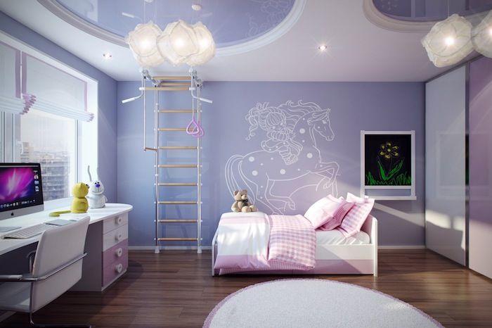 Teenager Zimmer Lila Blau Zimmerfarben Rosa Bett Weiß Rosa Lampen  Schreibtisch Mit Computer Deko Ideen