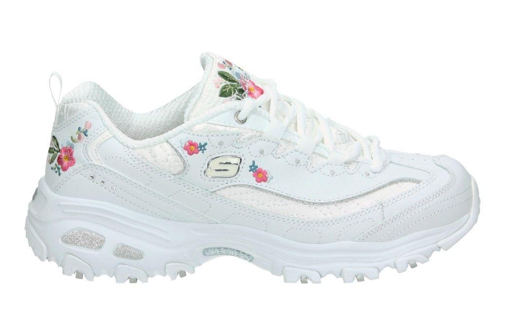 recoger pedestal perdonar  Zapatilla Skechers d´lites color blanco con flores decorativas | Pink  tennis shoes, Tennis shoes outfit, Tennis shoes sneakers
