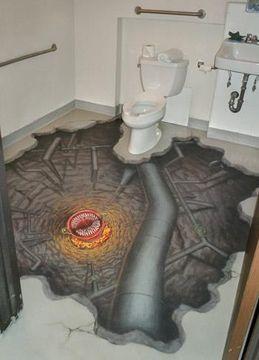 Don T Fall In Abyss On Bathroom Floor Floor Murals Mural Design Murals Street Art