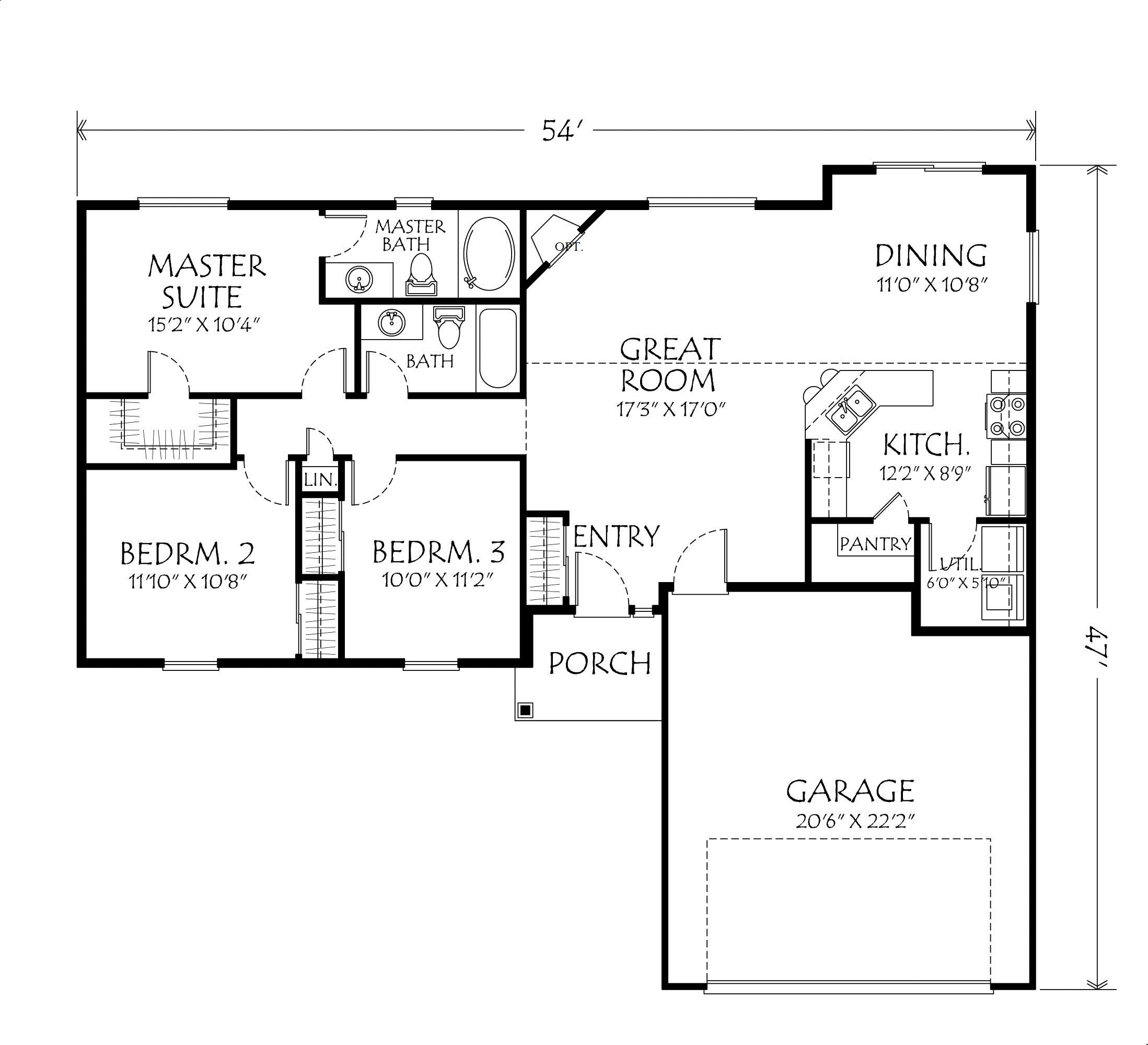 1 Bedroom 2 Bathroom House Plans Single 43story 43open 43floor 43plans Single Story Plan 3
