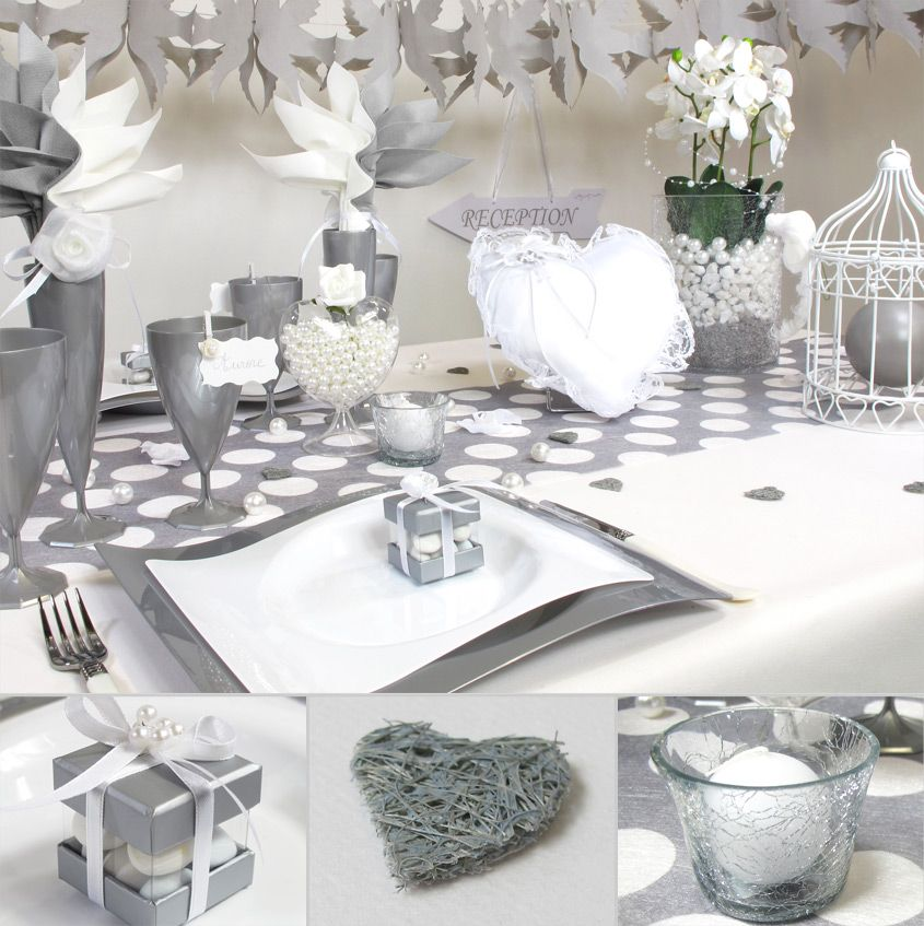 table classieuse pour un mariage en blanc et gris. Black Bedroom Furniture Sets. Home Design Ideas