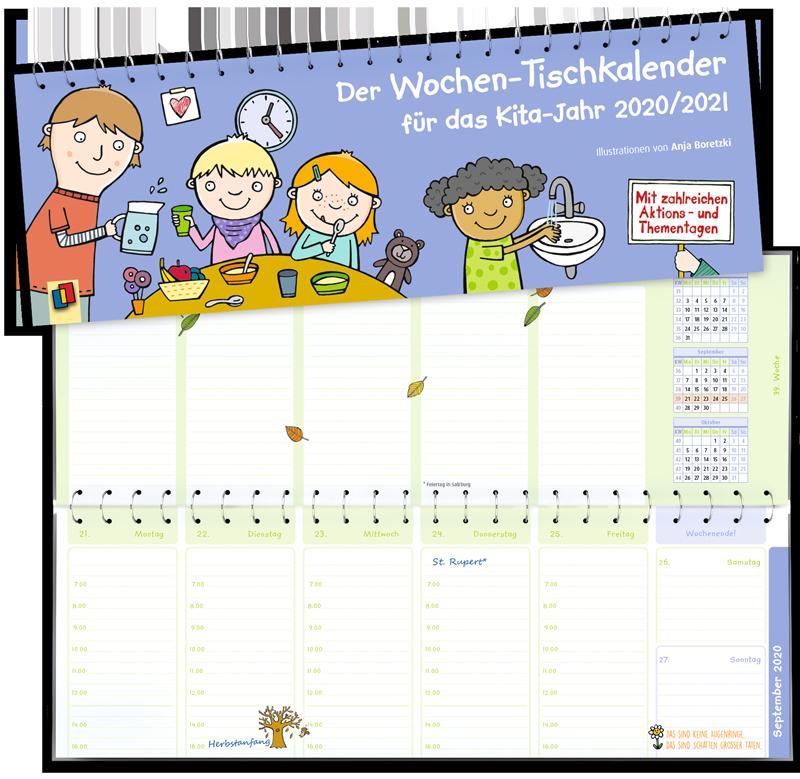 Der Wochen Tischkalender Fur Das Kita Jahr 2020 2021 In 2020 Tischkalender Kinder Tag Geburtstagskalender