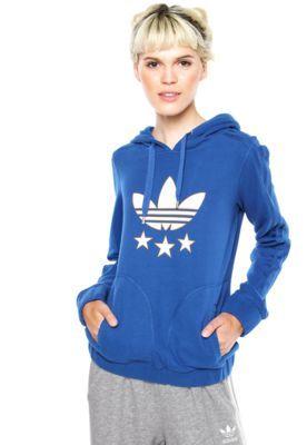3f314a5f9c6 Moletom ADIDAS Originals Slim Hoodie Azul Comprar Roupas Femininas