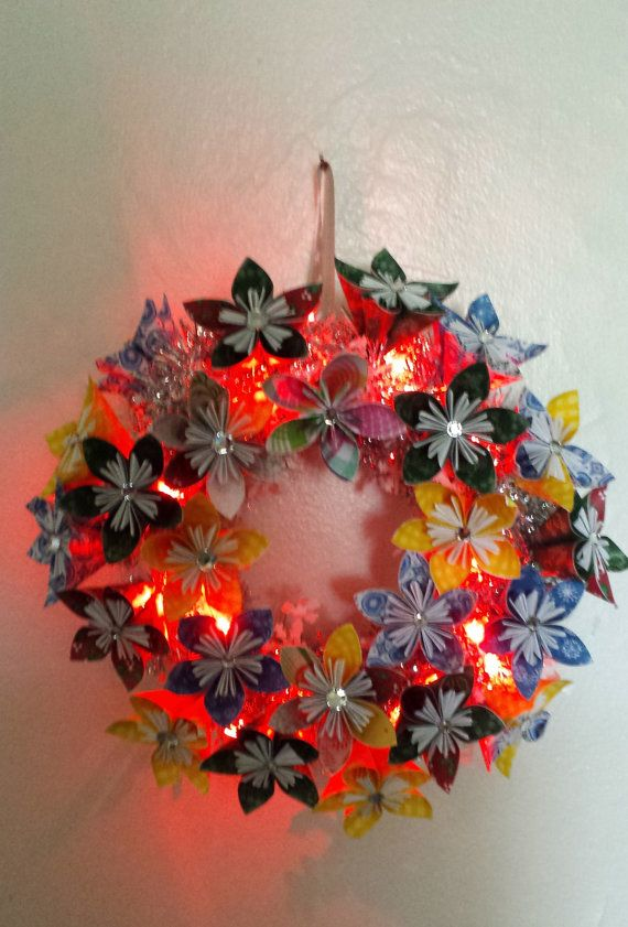 Christmas wreath with 3d origami flowers with lights 3d origami christmas wreath with 3d origami flowers with lights mightylinksfo