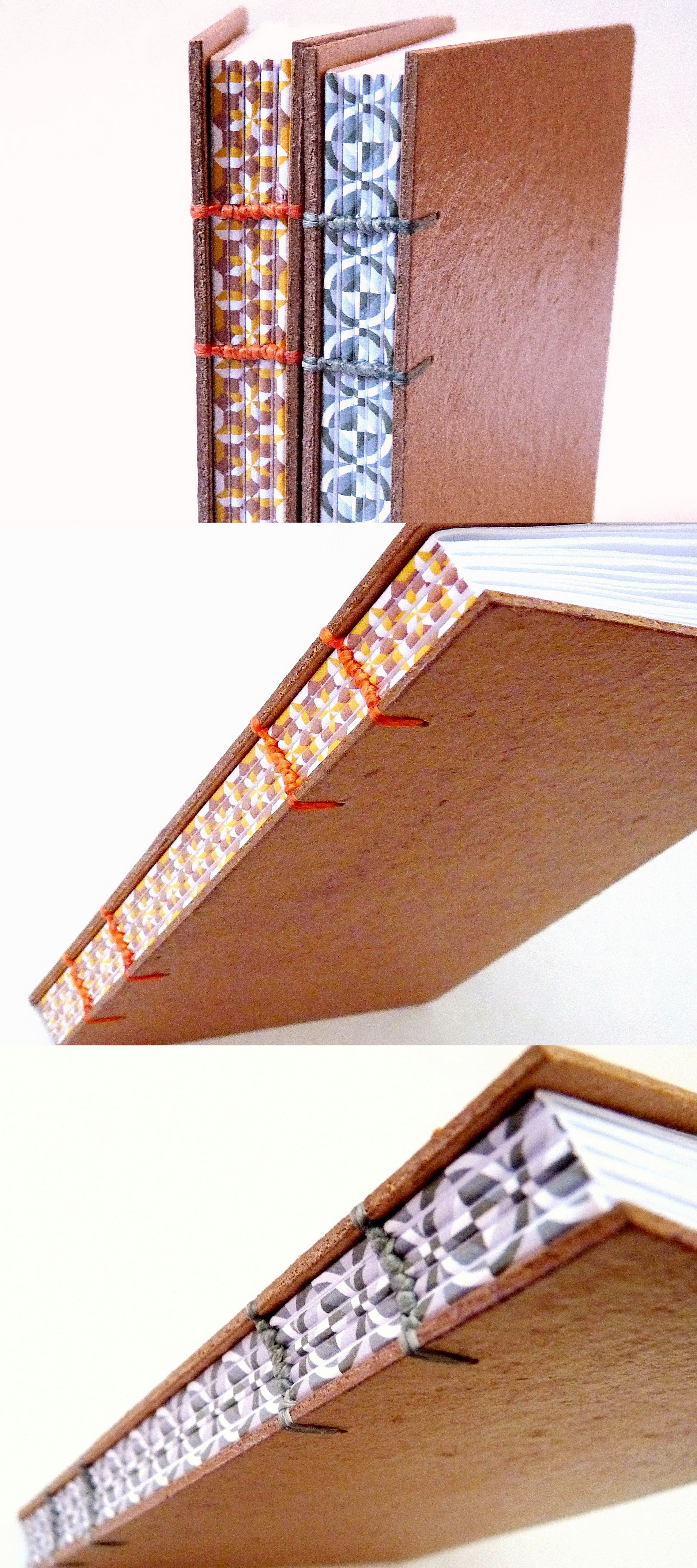 cadernos pequenos, encadernação copta, lombada impressa, no Canteiro de Alfaces