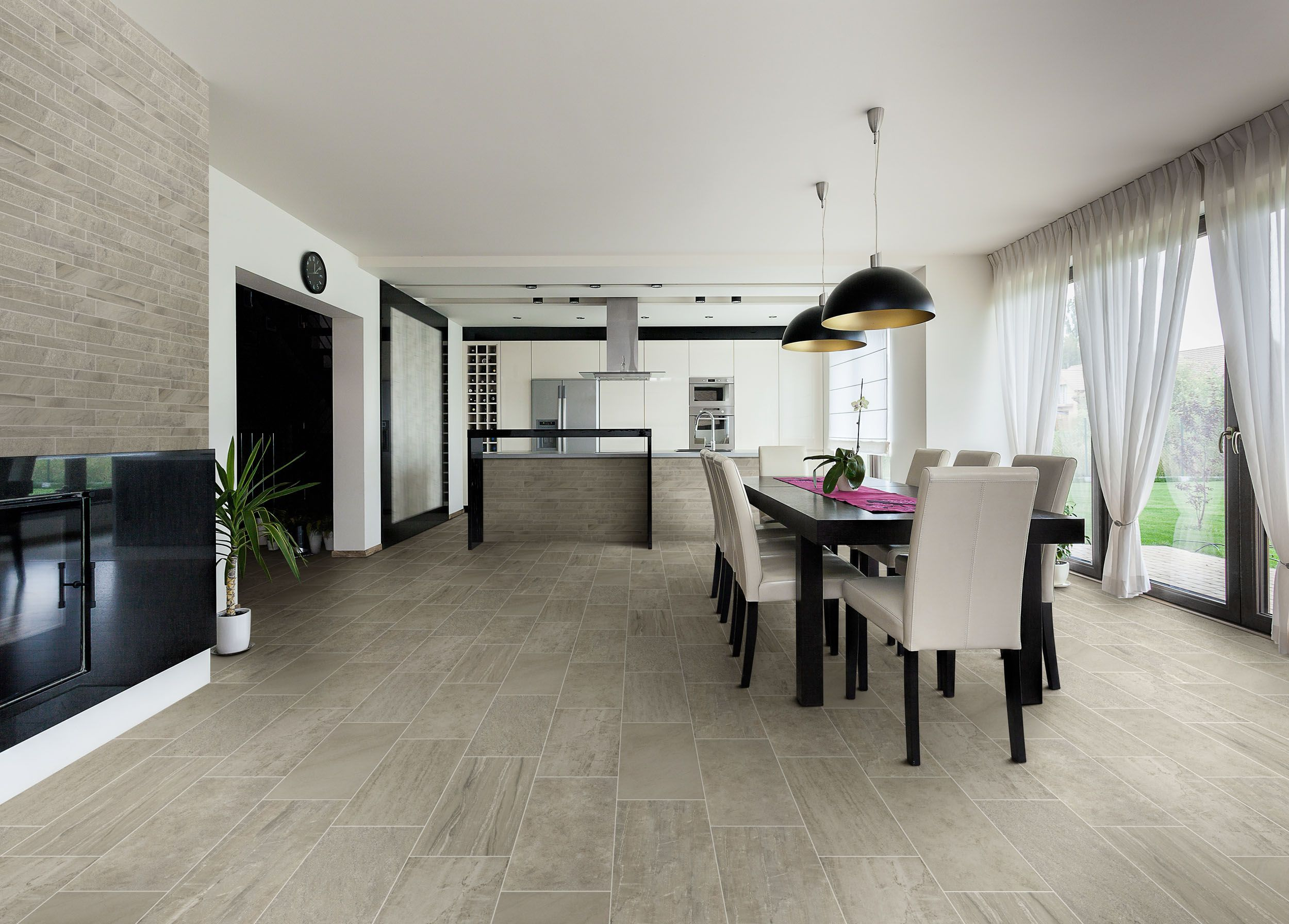Porcelain Tile With Mixed Look of Wood, Stone and Concrete