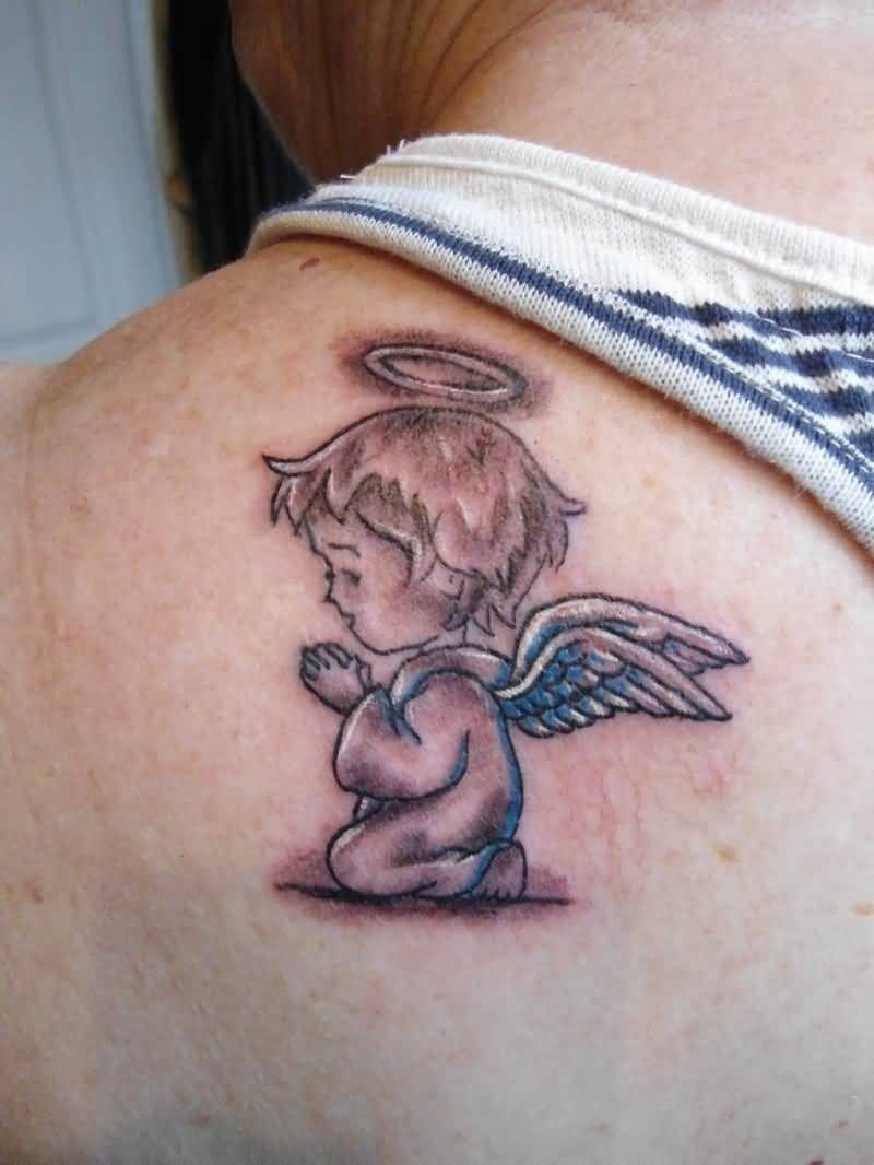 Beautiful Red Light And Blue Color Ink Baby Angel Tattoos ...