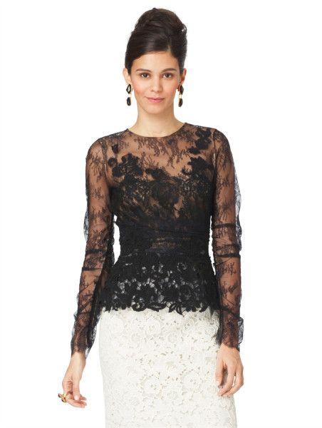 Oscar De La Renta Long Sleeve Lace Blouse in Black
